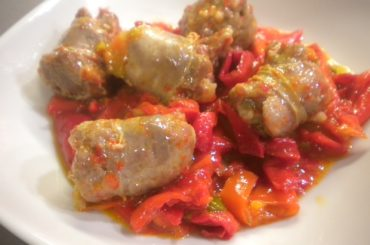 Sausage with peppers and cauliflower flavored with wild fennel