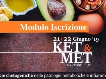 Modulo di iscrizione corso KET&MET (16,2 crediti ECM, 21-22 giugno 2019)